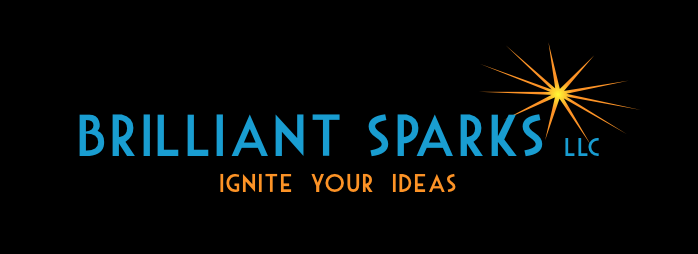 Brilliant Sparks logo, LLC owned by Maureen Perideaux, freelance copywriter and business writer